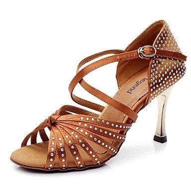 Silence @ Chaussures de danse pour femme en satin/cuir satiné/cuir/piste de danse latine talons Stiletto Heelpractice/débutant/ marron