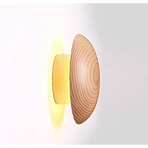 Moderne Einfache Runde Massivholz LED Wandleuchte Postmoderne Kunst Warm Licht Wand Korridor Licht Leselampe Nachttischlampe φ16cm / 20cm (L)