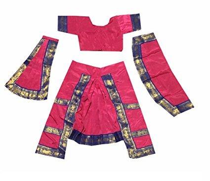 Fancyflight Bharatnatyam Dance Costume for Girls Fancy Dress Competitions (8-10 Yeras)