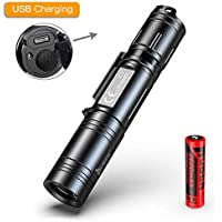 Lampe Torche LED Puissante,WUBEN Rechargeable USB 1200 LM Super Lumineux Etanche IPX8 Lampe Tactique Militaire 5 Modes d'éclairage, batterie incluse, pour Camping Randonnée, Garantie de cinq ans