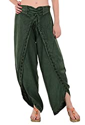 SNS Stone Wash Embroidered Aladdin Dhoti Rayon Pant (Green)