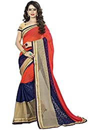 Vedant Vastram Women's Georgette Embroidered Saree With Blouse Piece (Orange & Beige Colour)