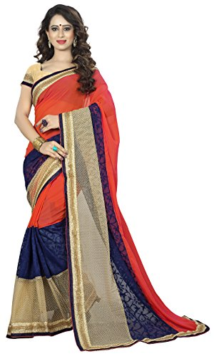 Vedant Vastram Women's Georgette Embroidered Saree With Blouse Piece (Orange & Beige...