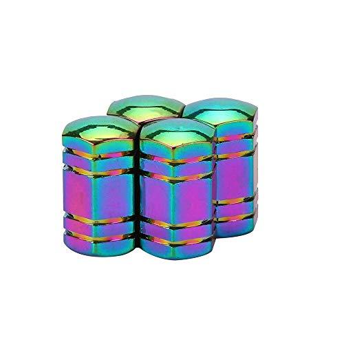 KangFang-Ge, 4 STÜCKE neonlichter Farbe Aluminium Autoreifen ventilkappen Kugel Design Auto LKW Air Port Abdeckung Reifen Felge Ventil Radkappe 11,27 (Color : E)