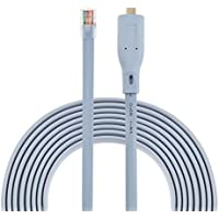 Cisco Console Cable New Type C USB to RJ45 - 1.8M (6 ft) FTDI Chip Replaces USB to DB9 + 72-3383-01 compatible with Windows 8, 7, Vista, MAC, Linux RS232