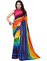 Kanchnar Women's RainBow Color Georgette Printed Saree