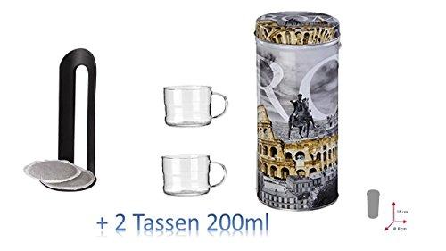 ROM Metalldose Dose Kaffeedose Coffee Pads rund Ø ca. 8x18 cm Metalldosen Kaffee Dosen AKTION MIT...