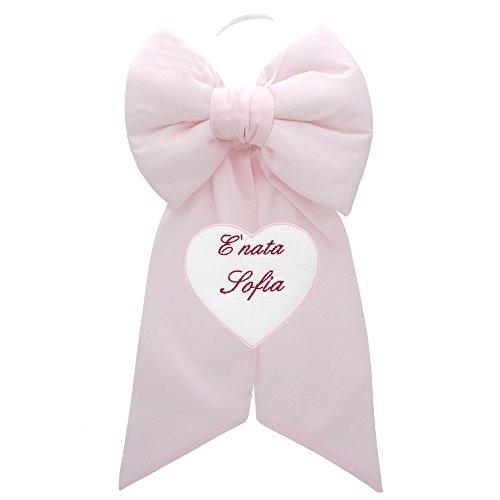 Coccole- fiocco nascita con cuore personalizzato - coccarda nascita con nome personalizzato (rosa)