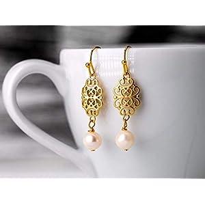 Perlen-Schmuck, orientalische Perlen-Ohrringe, Hochzeit, Braut-Schmuck, Geschenk für Sie, vergoldeter Filigran-Ohrhänger mit zartrosa Perle