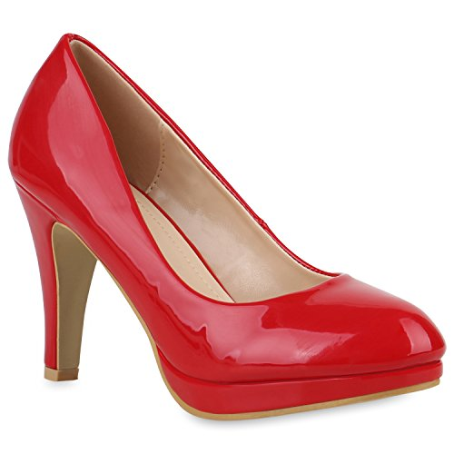 Klassische Damen Pumps Stiletto High Heels Lack Leder-Optik Schuhe 154356 Rot Amares 40 Flandell