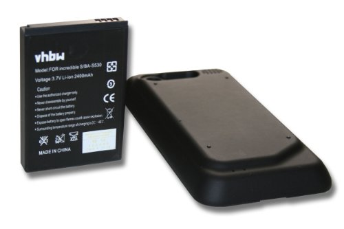 vhbw Extended Li-Ion Akku 2400mAh (3.7V) für Handy, Smartphone, Telefon HTC Incredible S, Incredible S S710E, PG32130 wie 35H00152-01M, BG32100.
