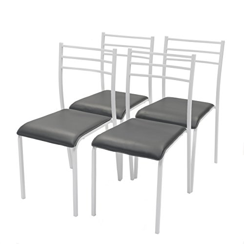Homely Pack de 4 sillas de Cocina Paris con Estructura de Metal...