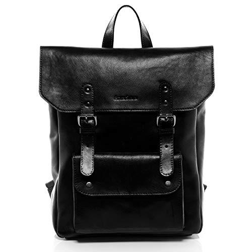 FEYNSINN Rucksack dünn Leder PHOENIX Backpack Tagesrucksack Stadtrucksack Unisex 14 Zoll Laptop Lederrucksack Damen Herren schwarz