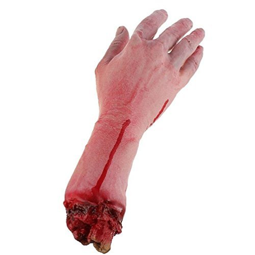 Beautylife & # x24 c7; realistica in lattice gory umano braccio mano vita dimensioni scary bloody blood parti del corpo per halloween party indoor outdoor prop e cosplay decor