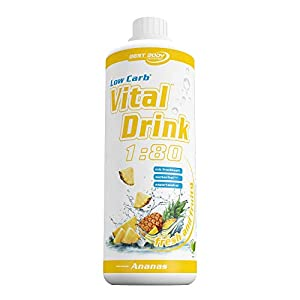 Best Body Nutrition - Low Carb Vital Drink, 1:80, Ananas, 1000 ml Flasche