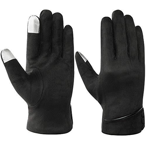 Acdyion Winter Damen Touchscreen Handschuhe Wildleder warm schick Outdoor für fahren Motorrad Radfahren (Schwarz)