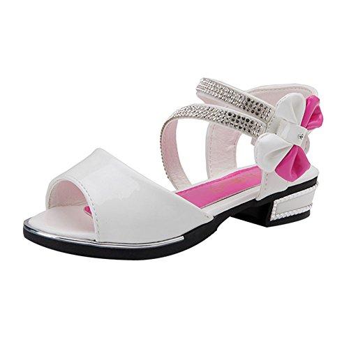 TAIYCYXGAN Mädchen Sommer Schuhe Sandalen Kinder Prinzessin Bogen Schuhe Schöne Lackschuhe Studentschuhe Weiß 31
