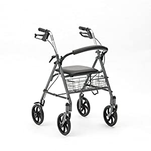 Ability Superstore Lightweight 4 Wheel Rollator with Padded Seat and Basket