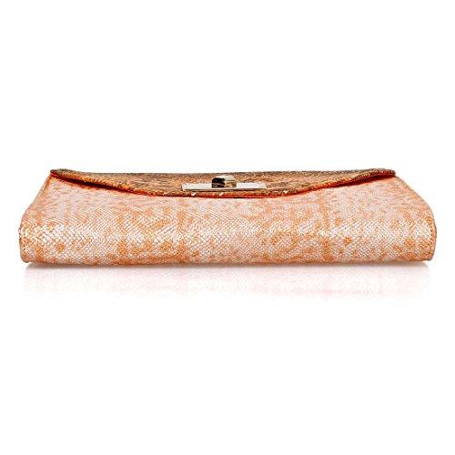BMC Borsetta a bustina alla moda chic con pelle di serpente metallizata grande -Soda Pop Chic