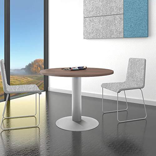 WeberBÜRO Optima runder Besprechungstisch Ø 100 cm Nussbaum Silbernes Gestell Tisch Esstisch
