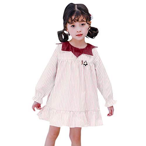JUTOO Kleinkind scherzt Baby gestreifte beiläufige Prinzessin Party Dress Sundress Clothes (rot,100)