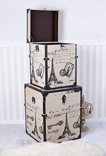Truhen Set Überseekoffer Paris Eiffelturm 2 Koffer Schrankkoffer Antik Palazzo Exklusiv