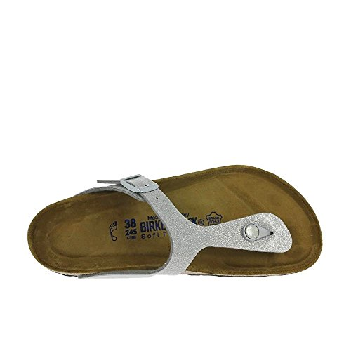 Birkenstock Gizeh Leder Softfootbed, Tongs mixte adulte silver