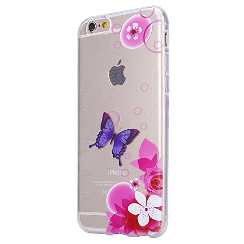 iPhone 6 Plus Hülle,iPhone 6s Plus TPU Gel Case Bumper,Ekakashop Bunte Transparent Comic Zwei Federn Muster Crystal Klar Flexible Case Silikon Defender Protective Schutzhülle Durchsichtig mit Niedlich Lila Schmetterling Rosa Blume
