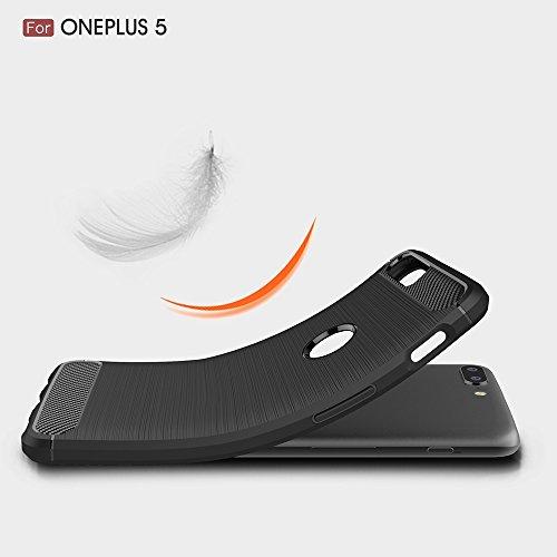 EKINHUI Case Cover Dünne und leichte, gebürstete Carbonfaser-robuste Rüstungsrückseiten-Abdeckungs-Stoßstange-Stoßdämpfer-Schlag-Widerstand-Shell-Abdeckung für OnePlus 5 ( Color : Red ) Gray
