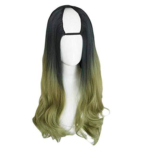 Vert/Noir 65 cm en U 2 tons longs cheveux bouclés perruque synthétique pleine perruque cosplay