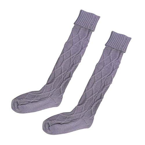 Kingko® Frauen-lange gestrickte Stiefel-Socken über Knie-Schenkel-hoher Strumpf (Lila) (Socken Fahrräder Knie-hohe)