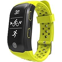 Fitness Tracker, upxiang S980GPS Monitor de frecuencia cardíaca resistente al agua Monitor reloj inteligente Bluetooth 4.0, Actividad pulsera podómetro monitor de sueño para caminar/correr/ciclismo/Natación/llamadas/mensaje, soporte IOS8+/android4.3+ como iPhone 77Plus 6Samsung S8, color verde