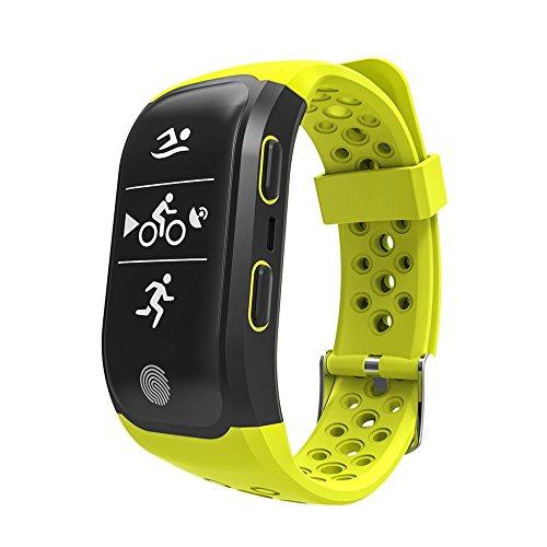 Reloj de pulsera inteligente Upxiang S980 rastreador de fitness, función GPS, monitor de frecuencia cardíaca, resistente al agua, podómetro, monitor de sueño, conexión Bluetooth 4.0, para caminar, correr, ciclismo, natación, llamadas, mensajes, compatible con iOS8+ y Android 4.3+ como el iPhone 7 7 Plus 6 y Samsung S8, 0.07 pounds, color verde