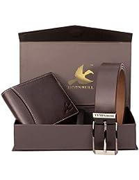 Hornbull Valentine's Gift Set for Men's - Brown Wallet and Brown Belt Men's Combo Gift Set 4595