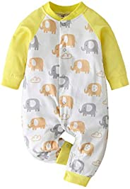 FWEIP Newborn Infant Baby Boys Girls Cartoon Elephant Printed Romper Jumpsuit Clothes Outfits