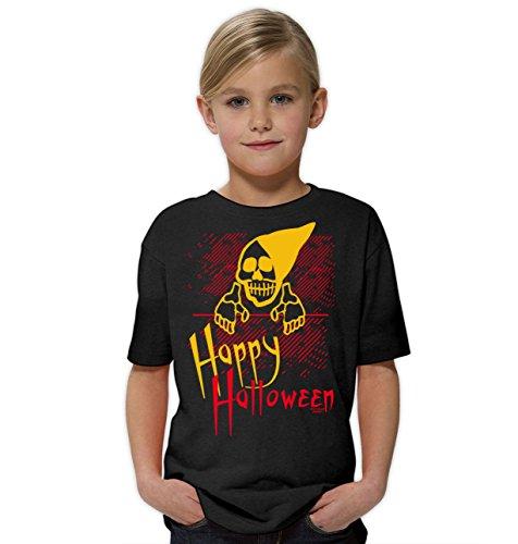 Lustiges Kinder-Fun-Kostüm-T-Shirt Mädchen Teenager Party-Outfit-Bekleidung tolles Geschenk Farbe: schwarz Gr: 134/146 (Happy Halloween-gruseliges Gesicht)