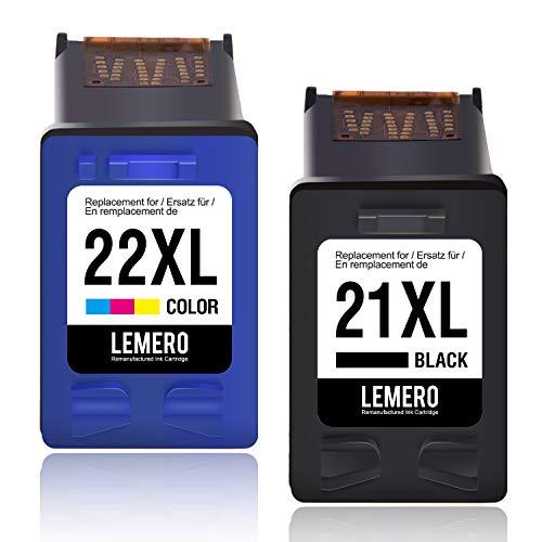 2 LEMERO Wiederaufbereitet Druckerpatronen Kompatibel für HP 21 22 XL für Deskjet F380 F4180 F375 F4100 F370 F2180 F350 F385 F390 F394 F4135 F4140 F4150 F4172 F4175 F4185 F4190 F4194 PSC 1410 1415 (Hp Druckerpatrone 21)
