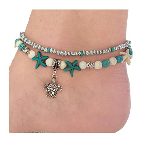 Women Bracelet, Vovotrade Women Girls Double Anklet Turtle Sea Snail Sea Star Beach Foot Chain 2018
