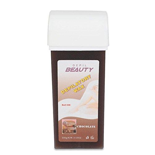 Cera depilación,Roll On Electrico Cera Depilatoria profesional 100g corporal 6 tipos de fragrancia(Chocolate)