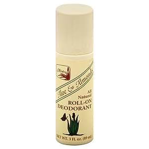 Alvera All Natural Roll-On Deodorant Aloe & Almonds - 3 Oz, 4 pack by ALVERA [Beauty] (English Manual)