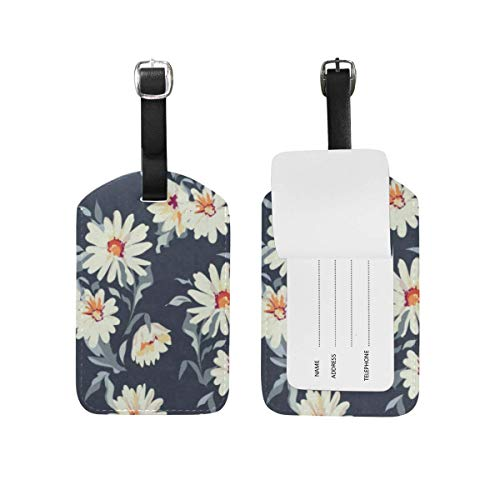 Luggage Tags Watercolor Daisy Travel ID Identifier for People 1 Pack (Pet-id-tag Daisy)