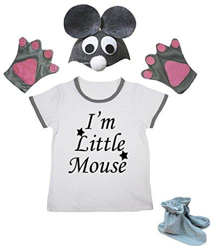 Ich Ein Kostüm Bin Maus - Petitebelle Ich bin Mäuschen Shirt Grau-Hut-Handschuh-Schuh-Mädchen 4pc Kostüm 4-5 Jahre Grau-weiß