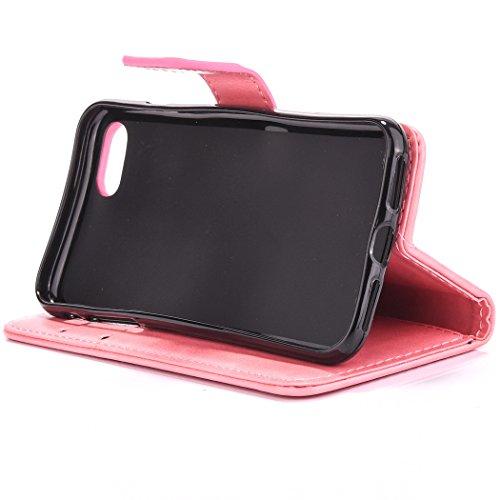 Custodia per Apple iPhone 7 Plus, ISAKEN iPhone 7 Plus Flip Cover con Strap, Elegante Bookstyle Contrasto Collare PU Pelle Case Cover Protettiva Flip Portafoglio Custodia Protezione Caso con Supporto Rossa