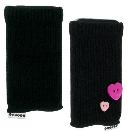Trendz TZSKBUBK Universal Socke für Apple iPhone/iPod und MP3 schwarz mit rosa Herz Knopf