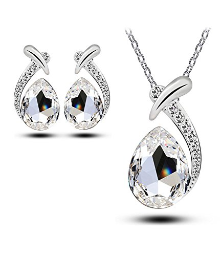 Celebrity Jewellery Water Drop Swarovski Elements Crystal Necklace and Stud Earrings Set for Women