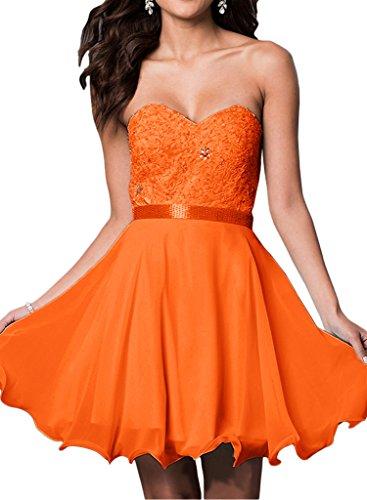 Milano Bride Damen Liebling Herzform Abenkleider Abschlusskleider Promkleider Applikation Perlenstickerei Kurz Mini Orange