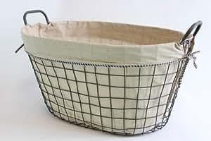 korb arvid i aus metall geflecht mit stoff ausgekleidet 56x40x29cm f r kaminholz feuerholz. Black Bedroom Furniture Sets. Home Design Ideas
