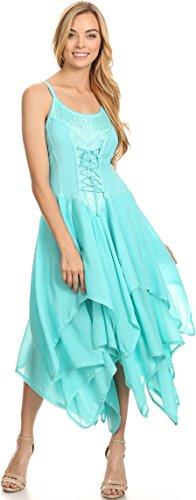 Sakkas Lady Mary Jacquard Corsetto Cappotto stile leggero abito da fazzoletto Hem Schiuma marina