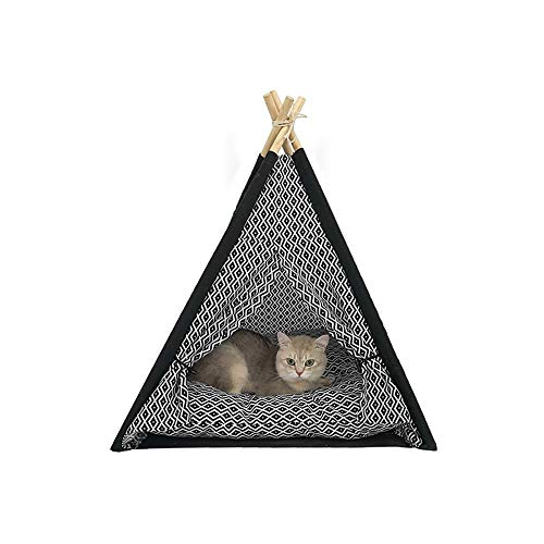 XiXi Sommer Katzentoilette Katzenspielzeug Cat Klettergerüst Klein Massivholz Waschbar Cat Zelt Nest Schwarzen Quadrat Dreieck-Zelt 60 * 60 * 80cm.