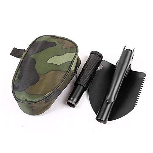 HoganeyVan Outdoor Gadget Military Folding Shovel Multi-Function Folding Spade Mini Trenching Shovel with Carrying Pouch for Survival Camping Outdoor